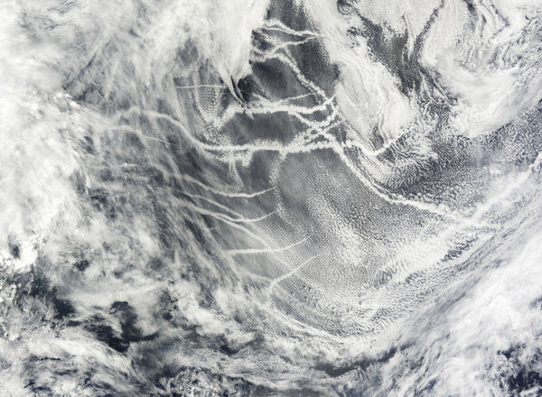 July 13, 2008 - Though they may look like airplane contrails, the streaky clouds shown in this image are ship tracks, bright clouds that form in a shipa??s wa