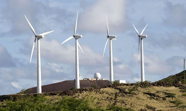 June 28, 2009 - On rugged lava rock terrain these four 225 kW wind turbines are the first phase of a six turbine site of the 45th Operations Group, Detachment 2, at Ascension Auxiliary Airfield (AAF), South Atlantic Ocean