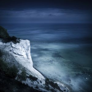 Aerial view of chalk mountain and sea, Mons Klint cliffs, Denmark