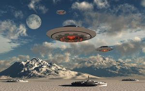 Alien base with UFOs located in the Antarctic