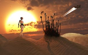 An android harvesting a rare plant on a desert alien world
