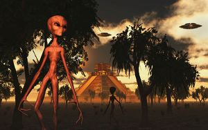 Artist's concept of aliens helping the Mayans build complex buildings