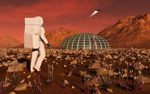 Astronaut walking across the surface of Mars towards a habitat dome