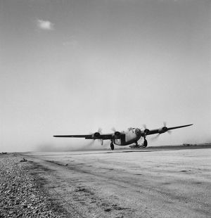 A B-24 bomber of the U.S. Army 9th Air Force in Libya, 1943