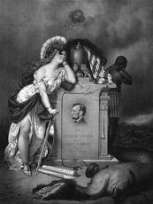 Civil War print of Lady Liberty and a slave at the grave of President Lincoln