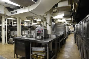 Commercial kitchen aboard battleship USS Missouri, Pearl Harbor, Oahu, Hawaii