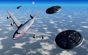 A commerical flight Boeing 747 being stalked by UFO's