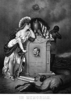 Digitally restored Civil War print of Lady Liberty and a slave at the grave of President