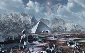 An extraterrestrial surveys an ancient structure on a distant alien world