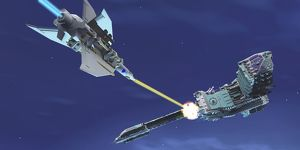 A fighter spacecraft blasts a large enemy battleship with a laser beam