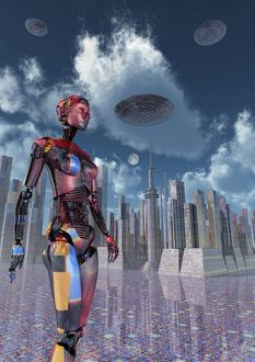 A futuristic city where robots and flying saucers are common place