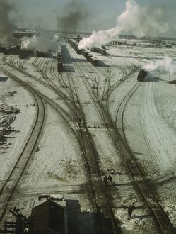 General view of one of the Chicago and Northwestern railroad classification yards