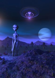 A Grey alien located on its homeworld of Zeta Reticuli