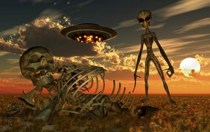A Grey Alien looking at humanoid remains as a UFO flys overhead