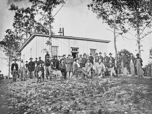 Group of soldiers at camp during American Civil War