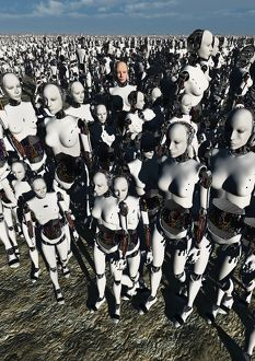 A lone android with a human flesh colored face amongst a crowd of robots