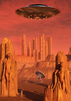 Members of the planets advanced civilization leaving Mars