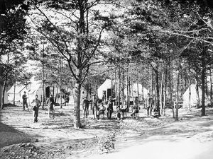 Military camp set up in the woods during the American Civil War