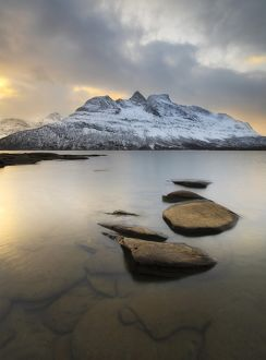 Novatinden Mountain and Skoddeberg Lake in Troms County, Norway