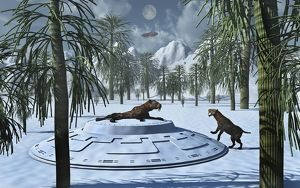 A pair of Sabre-Tooth Tigers encountering UFO's