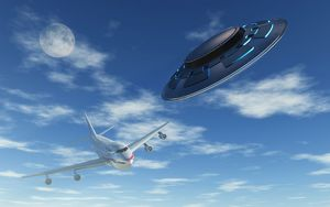 A pair of silver metallic disc shaped UFO's buzzing a Boeing 747 commerical airliner