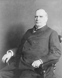 Portrait of President William McKinley seated in chair, circa 1900