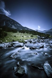 Small river flowing through the mountains of Pirin National Park, Bulgaria