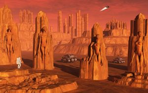 A team of explorers from Earth exploring Mars ancient monuments