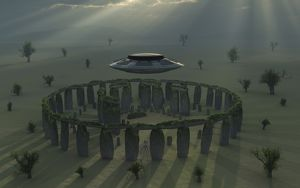 A UFO & its alien crew visiting Stonehenge