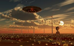 A UFO and alien on a desert wind farm