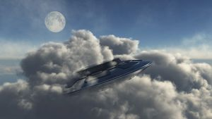 A UFO hiding in a dense cloud formation