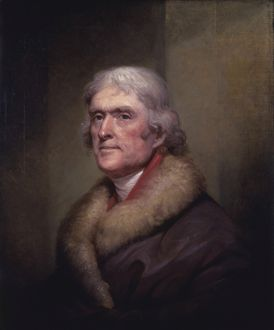 Vintage American History painting of President Thomas Jefferson