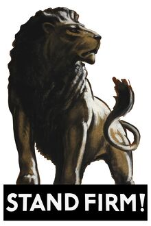 Vintage World War II poster of a male lion